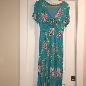 Floral cut out maxi dress